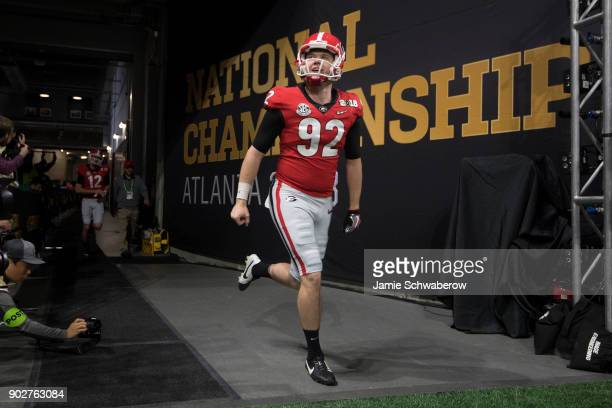 Cameron Nizialek of the Georgia Bulldogs takes the field against the University of Alabama during the College Football Playoff National Championship...