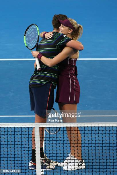 Cameron Norrie and Katie Boulter of Great Britain celebrate winning the mixed doubles match against Stefanos Tsitsipas and Maria Sakkari of Greece...