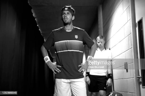 Cameron Norrie and Kyle Edmund prepare to enter the court prior to their singles semi final match on day 5 of Schroders Battle of the Brits at the...