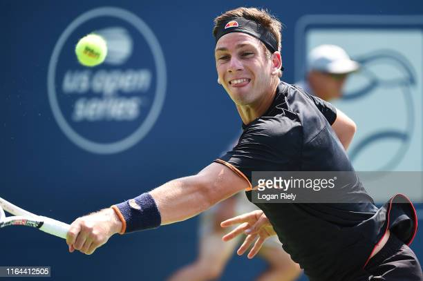 Cameron Norrie of England returns a backhand to Alexei Popyrin of Australia during the BB&T Atlanta Open at Atlantic Station on July 26, 2019 in...