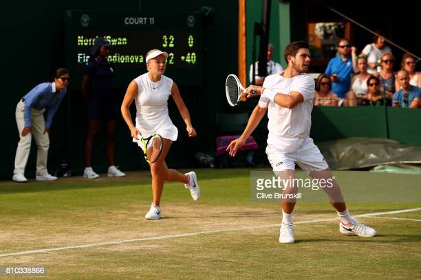 Cameron Norrie of Great Britain and Katie Swan of Great Britain in action during the Mixed Doubles first round match against Mikhail Elgin of Russia...
