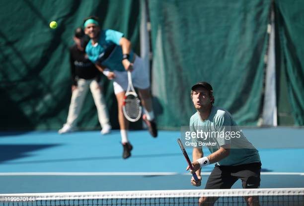 Cameron Norrie of Great Britain and Rhett Purcell of New Zealand during their doubles match against Rohan Bopanna of India and Henri Kontinen of...