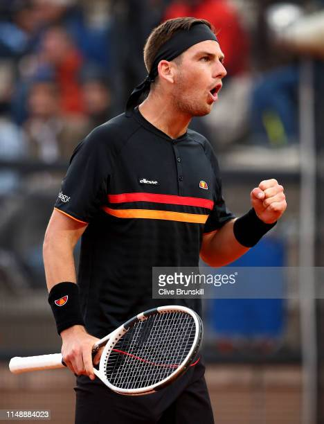 Cameron Norrie of Great Britain celebrates a point against John Millman of Australia in their first round match during day two of the International...