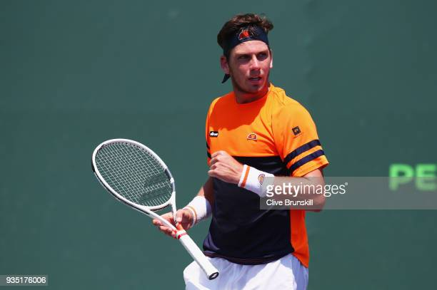 Cameron Norrie of Great Britain celebrates a point against Patrick Kypson of the United States in the final qualifying round during the Miami Open...