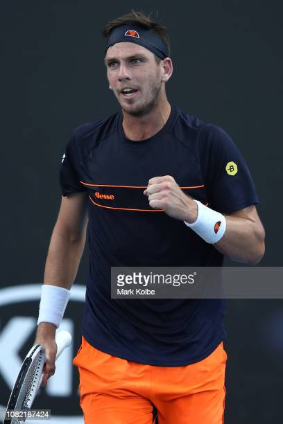 Cameron Norrie of Great Britain celebrates a point in his first round match against Taylor Fritz of the United States during day one of the 2019...