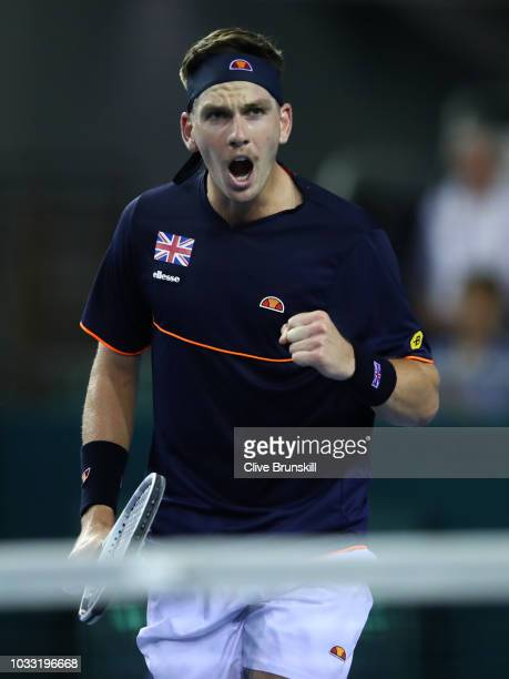Cameron Norrie of Great Britain celebrates a point in his match against Jurabek Karimov of Uzbekistan during day one of the Davis Cup match between...