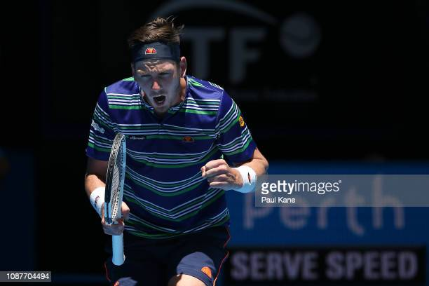 Cameron Norrie of Great Britain celebrates a point in his match against Stefanos Tsitsipas of Greece during day one of the 2019 Hopman Cup at RAC...