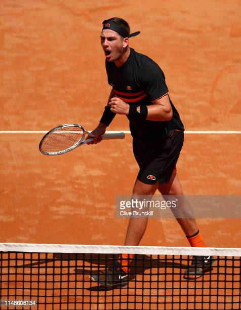 Cameron Norrie of Great Britain celebrates a point in the final quqlifying round against Nicolas Jarry of Chile during day one of the Internazionali...