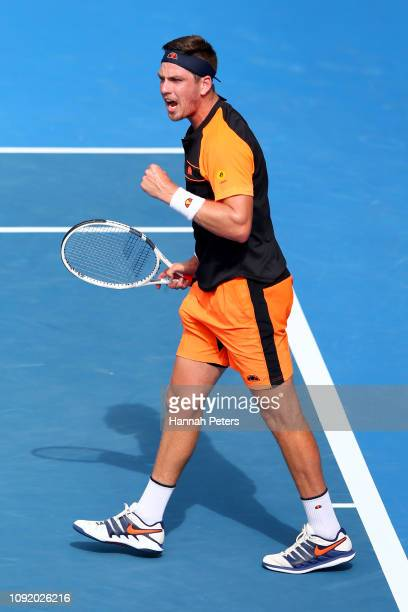 Cameron Norrie of Great Britain celebrates after winning his quarter final match against Taylor Fritz of USA during the ASB Classic at the ASB Tennis...