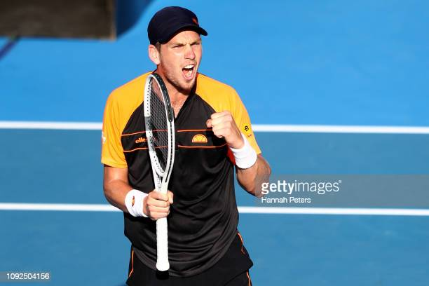 Cameron Norrie of Great Britain celebrates after winning his semi final match against JanLennard Struff of Germany during the 2019 ASB Classic at the...