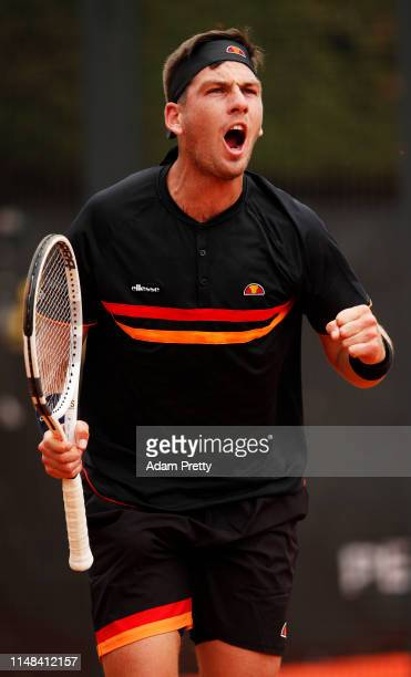 Cameron Norrie of Great Britain celebrates victory over Peter Gojowczyk of Germany during mens qualifying at Foro Italico on May 11 2019 in Rome Italy