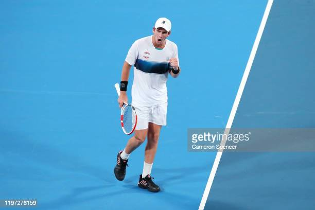 Cameron Norrie of Great Britain celebrates winning a point during his Group C singles match against Dimitar Kuzmanov of Bulgaria during day one of...