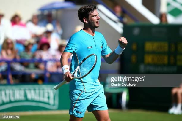 Cameron Norrie of Great Britain celebrates winning his men's singles match against Jaye Clarke of Great Britain during Day Six of the Nature Valley...