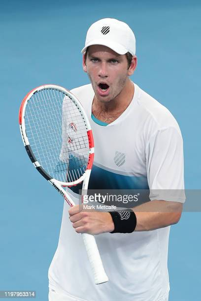 Cameron Norrie of Great Britain celebrates winning match point during his Group C singles match against Alexander Cozbinov of Moldova during day five...