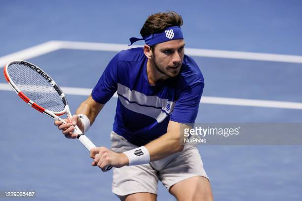 Cameron Norrie of Great Britain during his ATP St Petersburg Open 2020 international tennis tournament match against Miomir Kecmanovic of Serbia on...