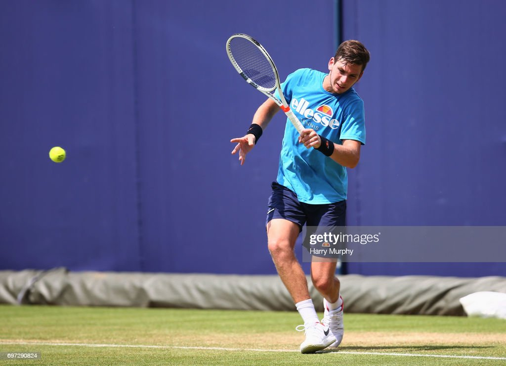 Cameron Norrie of Great Britain hits a forehand shot during a practice session ahead of the Aegon Championships at Queens Club on June 18, 2017 in London, England.