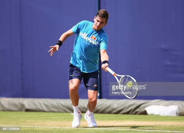 Cameron Norrie of Great Britain hits a forehand shot during a practice session ahead of the Aegon Championships at Queens Club on June 18 2017 in...