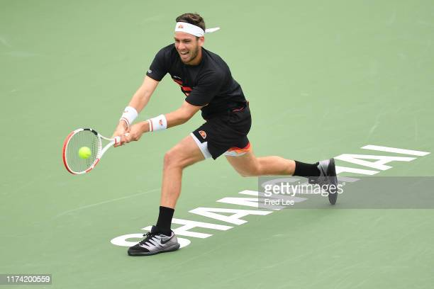 Cameron Norrie of Great Britain in action against Gilles Simon of France during 2019 Rolex Shanghai Masters at Qi Zhong Tennis Centre on October 7...