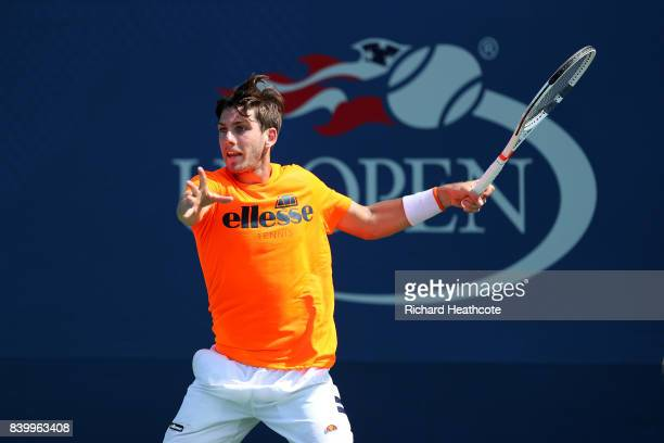 Cameron Norrie of Great Britain in action during a practice session prior to the US Open Tennis Championships at USTA Billie Jean King National...