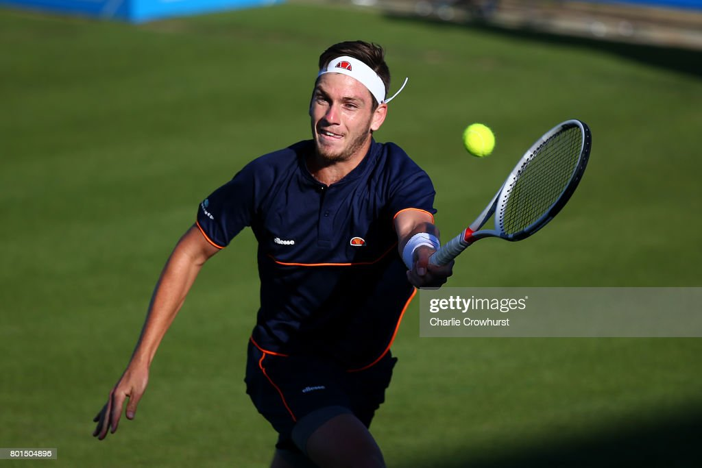 Cameron Norrie of Great Britain in action during his first round match against Horacio Zeballos of Argentina during day two of the Aegon International Eastbourne on June 26, 2017 in Eastbourne, England.