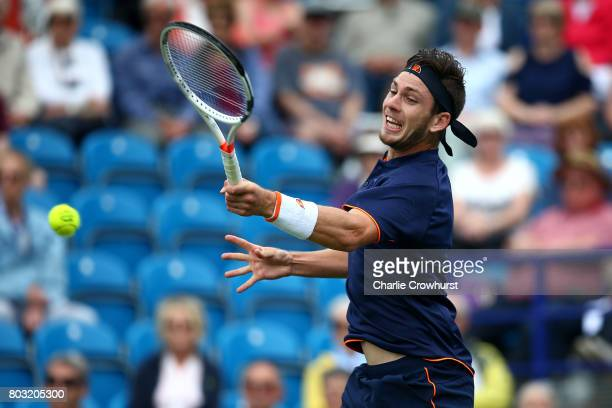 Cameron Norrie of Great Britain in action during his mens singles match against Gael Monfils of France during day five of the Aegon International...