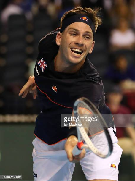 Cameron Norrie of Great Britain in action in his match against Jurabek Karimov of Uzbekistan during day one of the Davis Cup by BNP Paribas World...