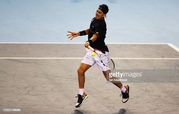 Cameron Norrie of Great Britain ireacts in his match against Jurabek Karimov of Uzbekistan during day one of the Davis Cup by BNP Paribas World Group...