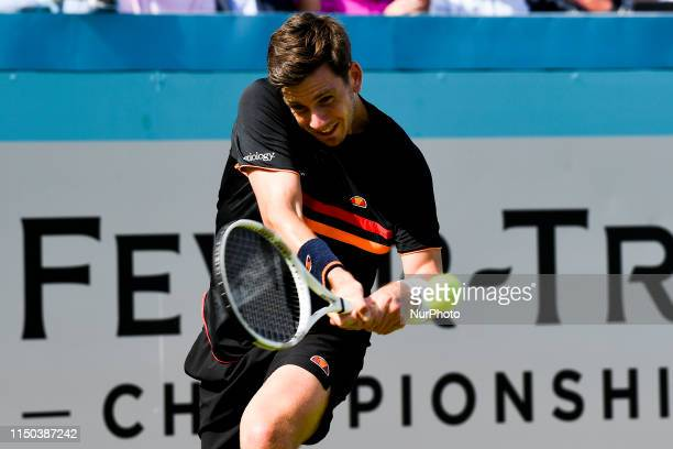 Cameron Norrie of Great Britain is seen in action during first round match against Kevin Anderson of South Africa, on day one of Fever Tree...