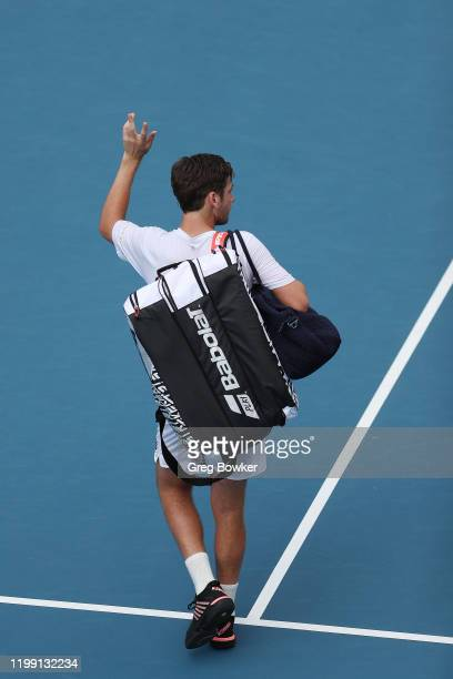 Cameron Norrie of Great Britain leaves the court after his loss against Thiago Monteiro of Brazil during day one of the 2020 Men's ASB Classic at ASB...