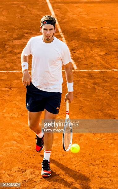 Cameron Norrie of Great Britain looks on during practice ahead of the Davis Cup by BNP Paribas World Group First Round match between Spain and Great...