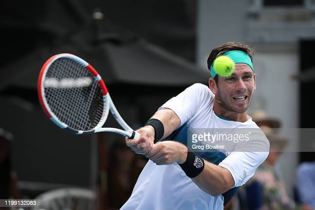 Cameron Norrie of Great Britain plays a backhand against Thiago Monteiro of Brazil during day one of the 2020 Men's ASB Classic at ASB Tennis Centre...