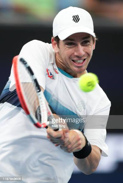 Cameron Norrie of Great Britain plays a backhand during his Group C singles match against Alexander Cozbinov of Moldova during day five of the 2020...