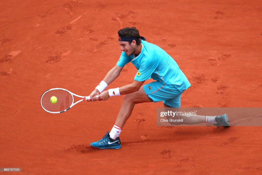 Cameron Norrie of Great Britain plays a backhand during the mens singles second round match against Lucas Pouille of France during day four of the 2018 French Open at Roland Garros on May 30, 2018 in Paris, France.