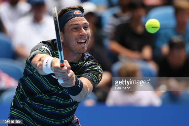 Cameron Norrie of Great Britain plays a backhand to Frances Tiafoe of the United States during day six of the 2019 Hopman Cup at RAC Arena on January...