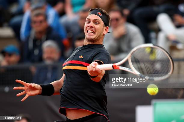 Cameron Norrie of Great Britain plays a forehand against John Millman of Australia in their first round match during day two of the International BNL...