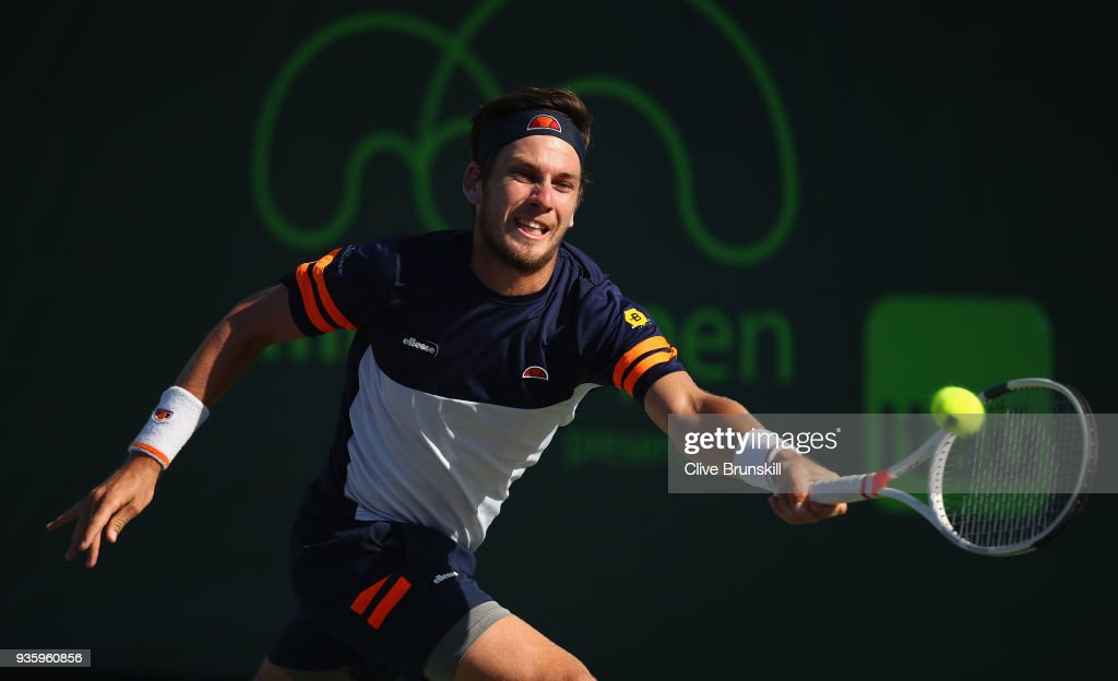 Cameron Norrie of Great Britain plays a forehand against Nicolas Jarry of Chilie during the Miami Open Presented by Itau at Crandon Park Tennis Center on March 21, 2018 in Key Biscayne, Florida.