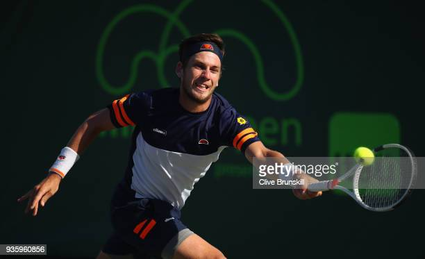 Cameron Norrie of Great Britain plays a forehand against Nicolas Jarry of Chilie during the Miami Open Presented by Itau at Crandon Park Tennis...