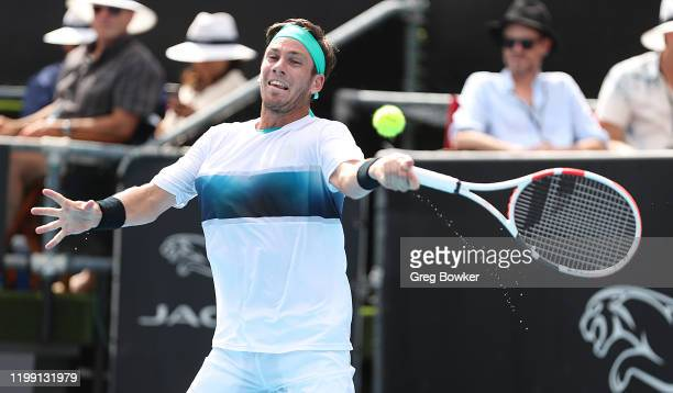 Cameron Norrie of Great Britain plays a forehand against Thiago Monteiro of Brazil during day one of the 2020 Men's ASB Classic at ASB Tennis Centre...