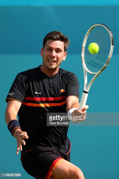 Cameron Norrie of Great Britain plays a forehand during his First Round Singles Match against Kevin Anderson of South Africa during Day One of the...
