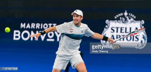 Cameron Norrie of Great Britain plays a forehand during his Group C singles match against Steve Darcis of Belgium during day three of the 2020 ATP...
