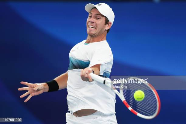 Cameron Norrie of Great Britain plays a forehand during his Group C singles match against Alexander Cozbinov of Moldova during day five of the 2020...