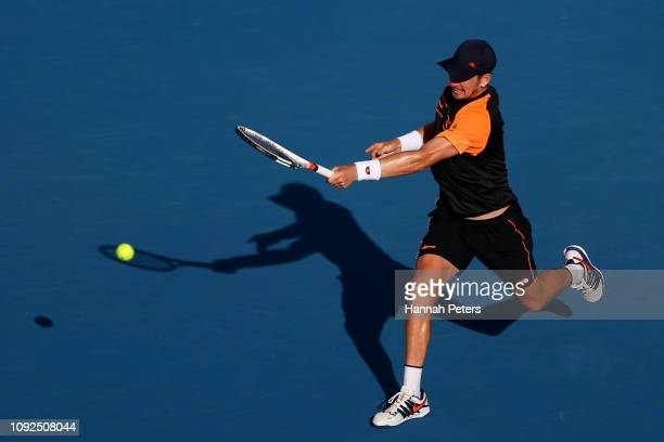 Cameron Norrie of Great Britain plays a forehand during his semi final match against JanLennard Struff of Germany during the 2019 ASB Classic at the...