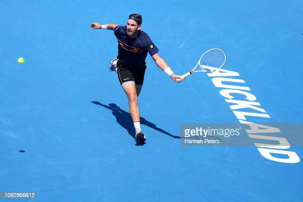 Cameron Norrie of Great Britain plays a forehand during the Men's final match against Tennys Sandgren of USA during the 2019 ASB Classic at the ASB...