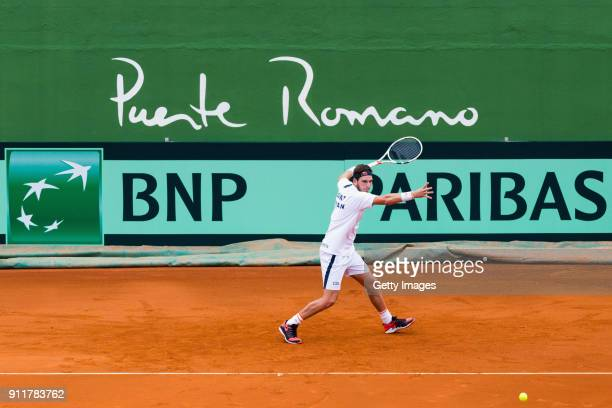 Cameron Norrie of Great Britain practices ahead of the Davis Cup by BNP Paribas World Group First Round match between Spain and Great Britain on...
