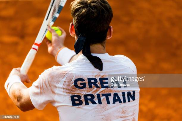 Cameron Norrie of Great Britain prepares to serve during practice ahead of the Davis Cup by BNP Paribas World Group First Round match between Spain...