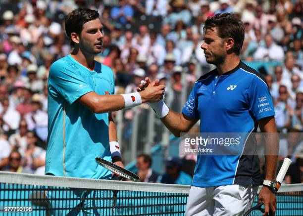 Cameron Norrie of Great Britain reacts after his defeat to Stan Wawrinka of Switzerland on Day 1 of the FeverTree Championships at Queens Club on...