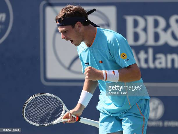 Cameron Norrie of Great Britain reacts against Jeremy Chardy of France during the BBT Atlanta Open at Atlantic Station on July 26 2018 in Atlanta...