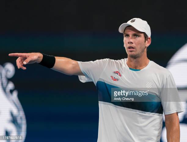 Cameron Norrie of Great Britain reacts during his Group C singles match against Steve Darcis of Belgium during day three of the 2020 ATP Cup Group...