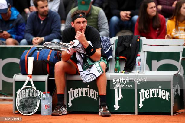 Cameron Norrie of Great Britain reacts during his mens singles first round match against Elliot Benchetrit of France during Day three of the 2019...