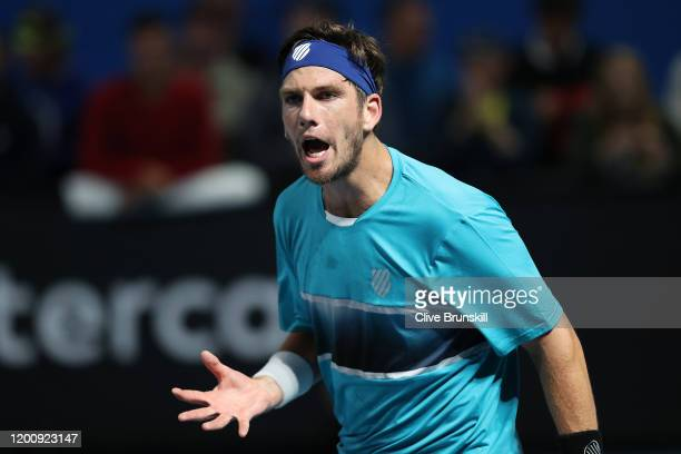 Cameron Norrie of Great Britain reacts during his Men's Singles first round match against PierreHugues Herbert of France on day two of the 2020...